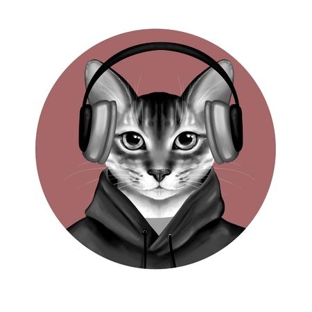 Black and white cat listening a music. Cute digital illustration Фото со стока