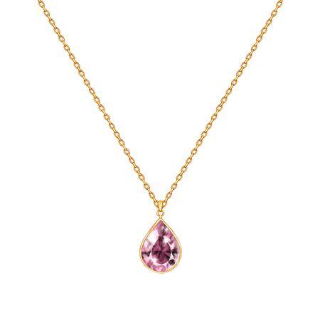 Collar de cadena dorada con gema. Diseño de joyería aislado en blanco