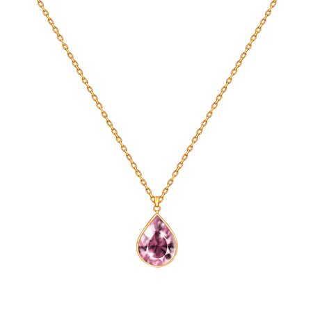 Golden chain necklace with gem. Jewelry design isolated on white