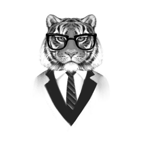 Portrait of Tiger in suit. Black and white illustration.