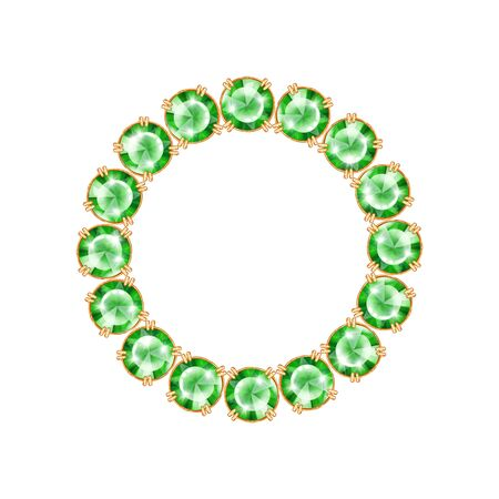 Round frame from realistic gems and jewels. Isolated on white