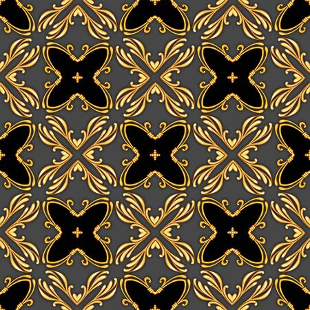 Seamless black pattern with decorative golden scrolls