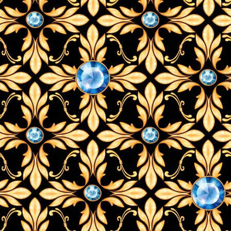 Seamless baroque pattern with gems and golden leaves