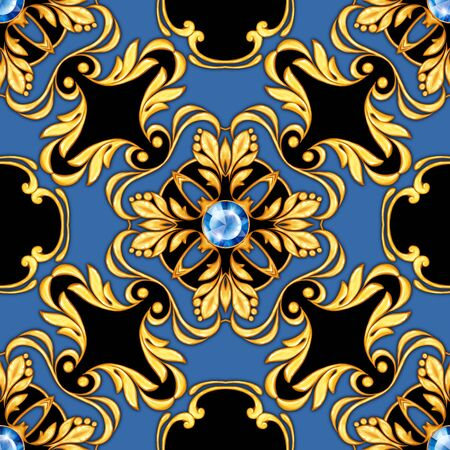 Seamless baroque pattern with golden scrolls and gems