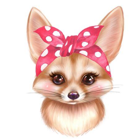Cute Fennec cartoon illustration. Colorful fox portrait Фото со стока