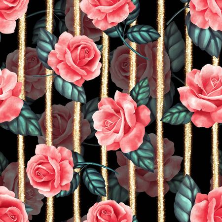 Seamless floral pattern with red roses on black background 写真素材
