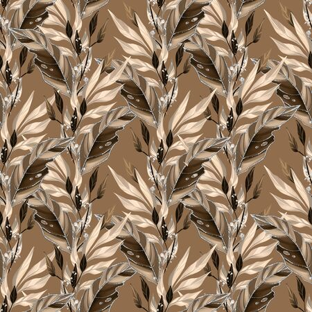Seamless pattern with leaves. Background for wrapping paper, wall art design