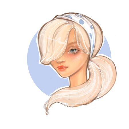 Modern cute girl sketch. Cartoon female face