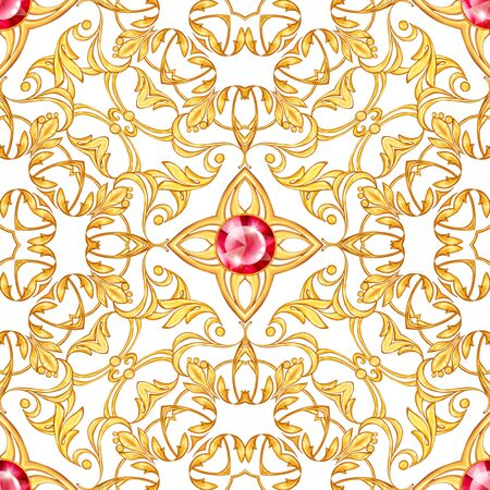 Seamless baroque pattern with decorative golden scrolls Фото со стока