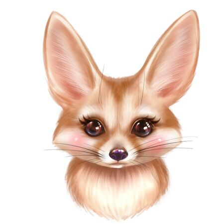 Cute Fennec cartoon illustration. Colorful fox portrait Stock Photo