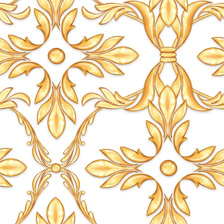 Seamless baroque pattern with abstract golden leaves Фото со стока