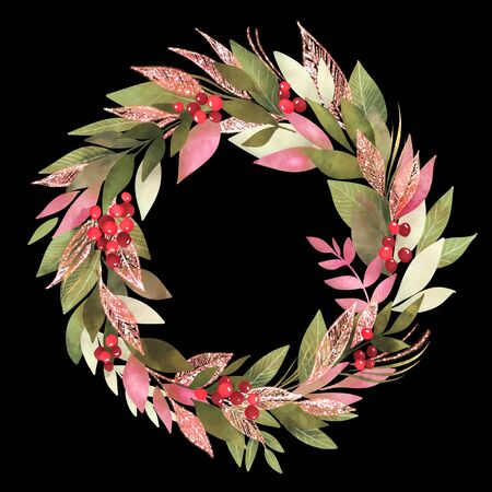 Christmas wreath leaves and red berry, watercolor style. Isolated on black Stock Photo