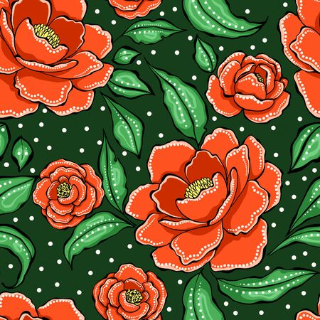 Beautiful seamless floral pattern with decorative peony Stockfoto