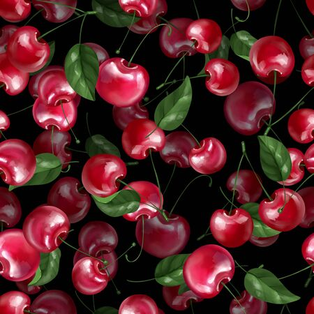 Seamless pattern berry cherry and leaves. Black decorative background 版權商用圖片