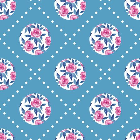 Decorative seamless pattern with watercolor simple flowers