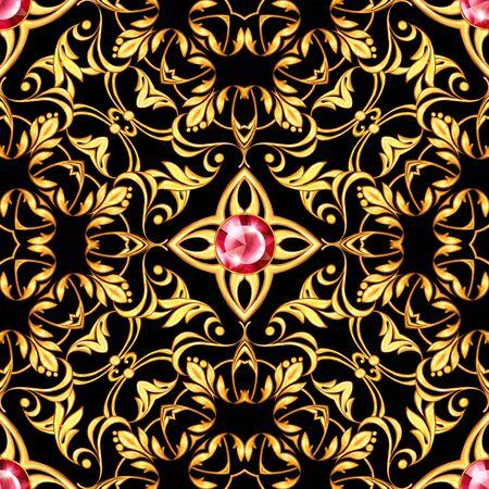 Seamless baroque pattern with decorative golden scrolls Stockfoto