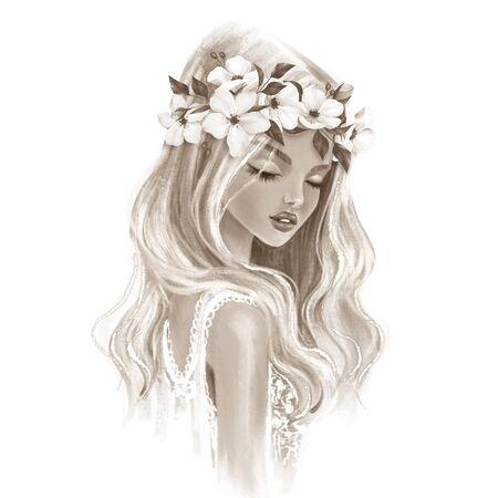 Beautiful girl. Monochrome portrait of young woman Banco de Imagens