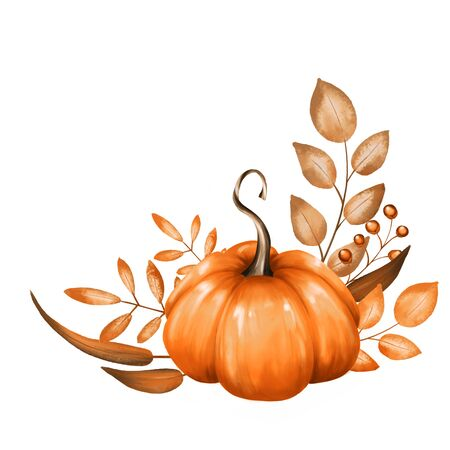 Beautiful composition with pumpkin and fall branches. Isolated on white background. Stock Photo
