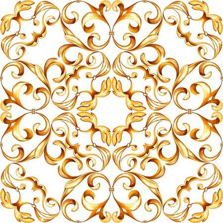 Nahtloses Luxusbarockmuster mit goldenen Schriftrollen