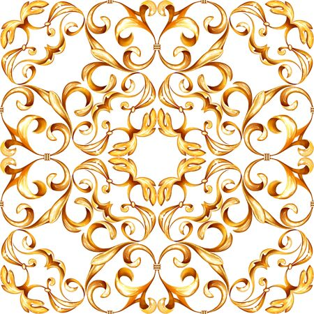 Seamless luxury baroque pattern with golden scrolls
