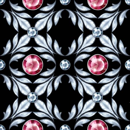 Silver jewelry seamless pattern with red gems. Luxury background 스톡 콘텐츠