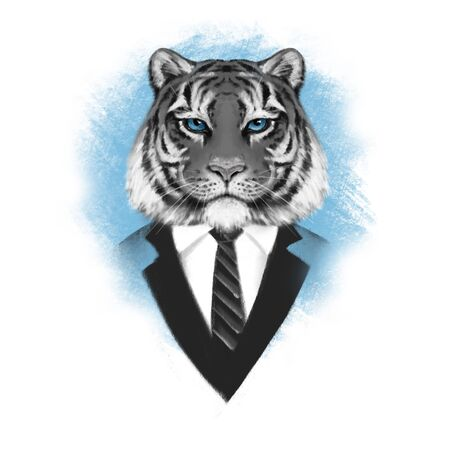 Portrait of Tiger in suit. Illustration in hand drawn style