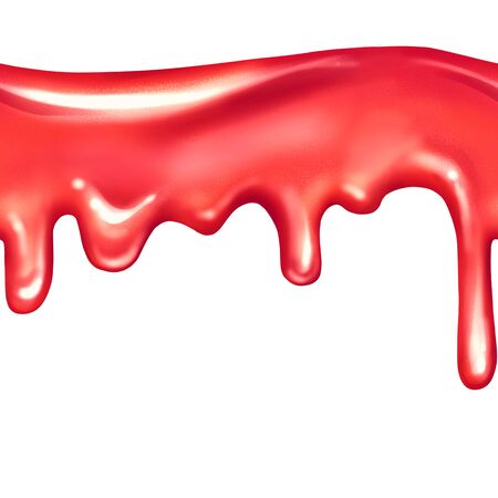 Seamless dripping red liquid on white background. Isolated on white