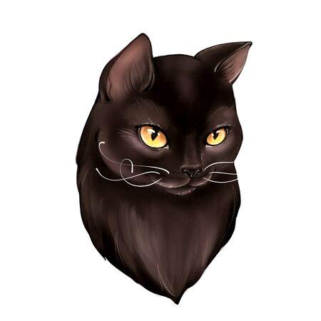 Black cat cartoon illustration for Halloween isolated on white background