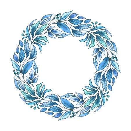 Floral composition. Wreath with leaves and branches