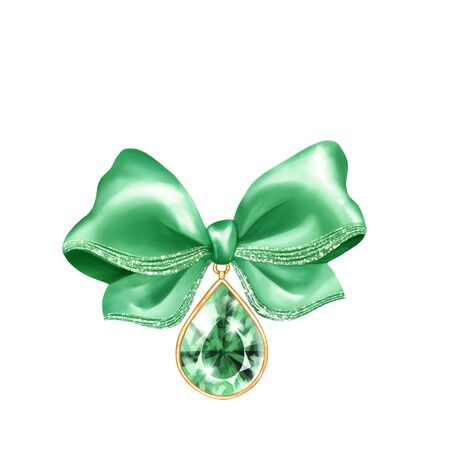 Green holiday bow with emerald gem. Isolated on white background