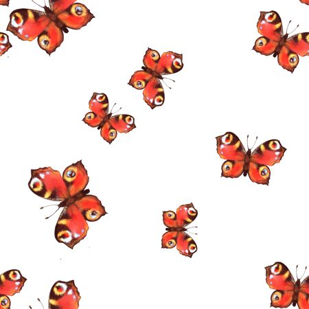 Seamless pattern with red butterflies. Artistic background