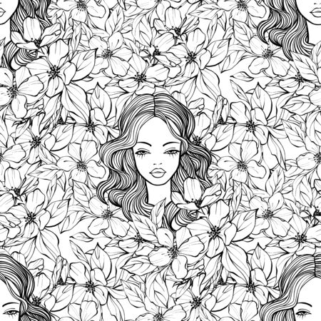Beautiful woman with flowers. Black and white seamless pattern. Line art Reklamní fotografie - 135464836