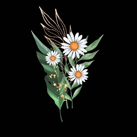 Bouquet of daisies. Floral composition of flowers and leaves