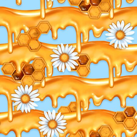Seamless dripping honey pattern and white chamomiles