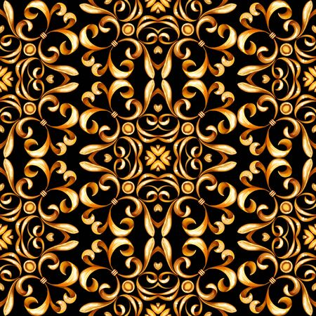 Seamless gold pattern with scrolls on black background