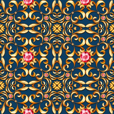 Seamless gold pattern with scrolls on blue background Фото со стока