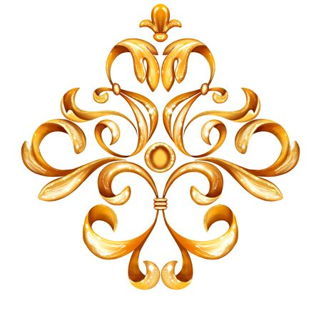 Golden decorative element for design. Vintage curl background. luxury decor isolated on white Foto de archivo