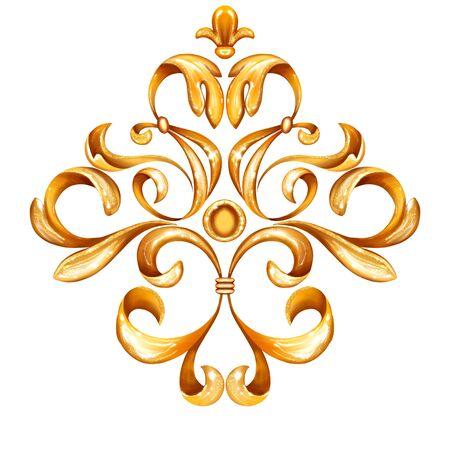 Golden decorative element for design. Vintage curl background. luxury decor isolated on white Reklamní fotografie