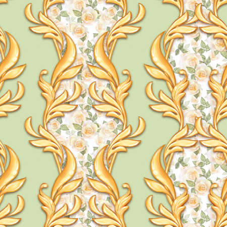 Seamless vertical baroque pattern with roses and golden scrolls