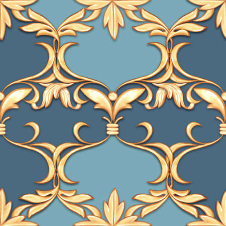 Seamless blue baroque pattern. Decorative background with gold scrolls