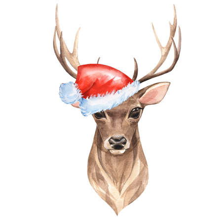Watercolor deer with red Santa hat. Isolated on white Banque d'images