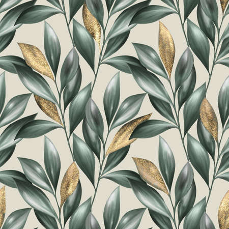 Green and gold leaves seamless pattern. Summer floral background