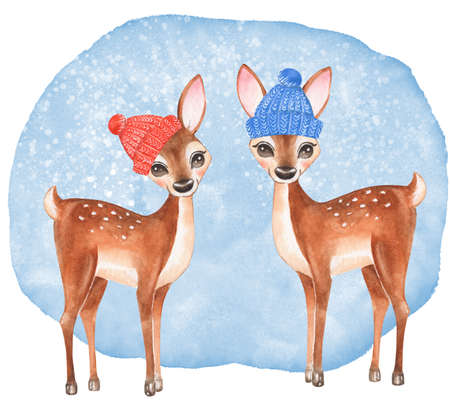 Card with fawns. Cute watercolor winter illustration. Christmas card design