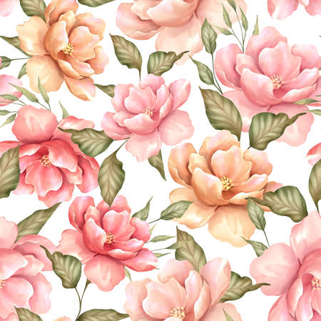 Seamless pattern with flowers and leaves. Floral pattern, watercolor style