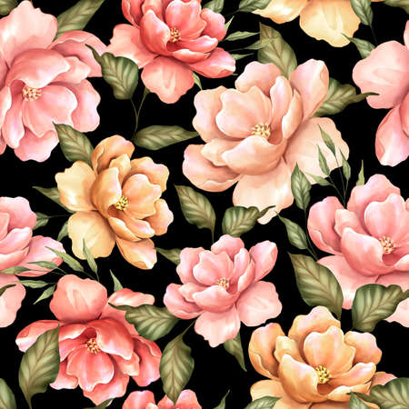 Seamless pattern with flowers on black background. Floral pattern