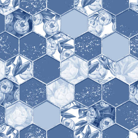 Hexagon seamless texture with peony flowers. Decorative blue pattern Banque d'images