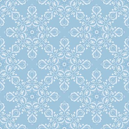 Lace seamless white pattern. Decorative blue background