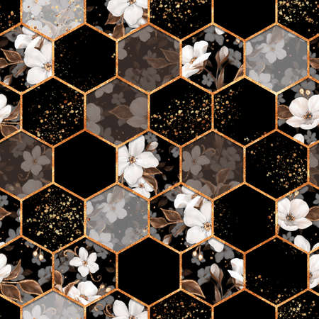 Decorative pattern. Hexagon seamless texture with white flowers