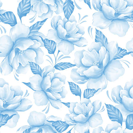 Seamless pattern with flowers. Blue floral pattern in watercolor style Banque d'images