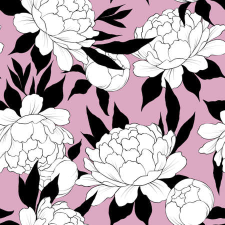 Elegance seamless pattern with flower peony. Floral background Banque d'images